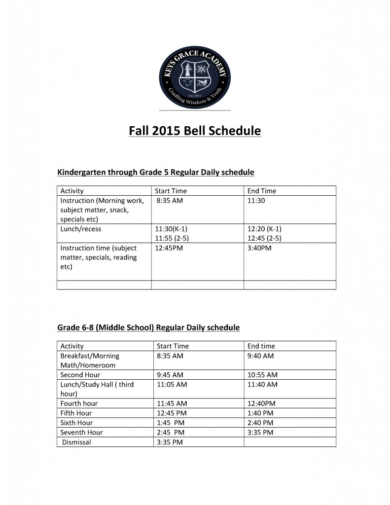 2015 Fall Bell Schedule